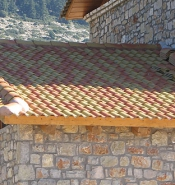 Tile roof with yellow and orange tile